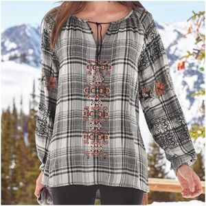 Plaid Embroidered Peasant Top